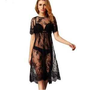 Boutique Sexy Black Lace Long Beach Cover